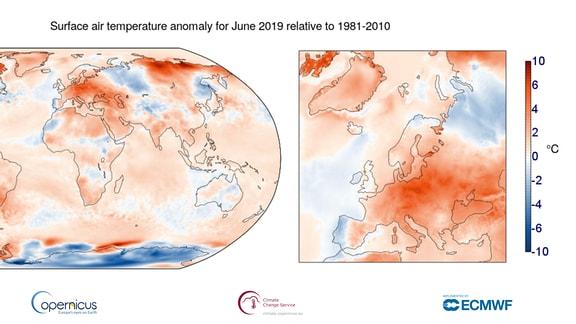 Eine Karte der Welt und Europas zeigt farblich die Hitzewerte des Juni 2019 an.