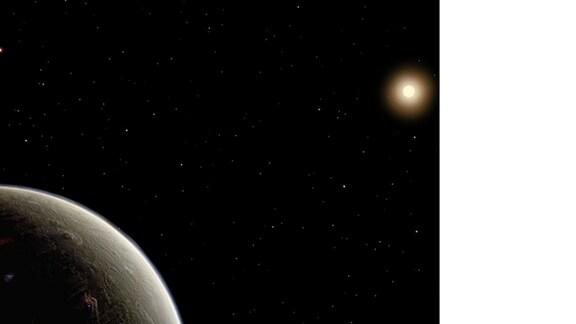 Grafische Darstellung des Planeten Vulkan vor seinem Stern 40 Eridani A
