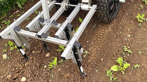 Dieser Roboter der ETH Zürrich ist eine silberne Kiste auf vier Rädern, die Unkräuter aus einem Feld jäten kann.