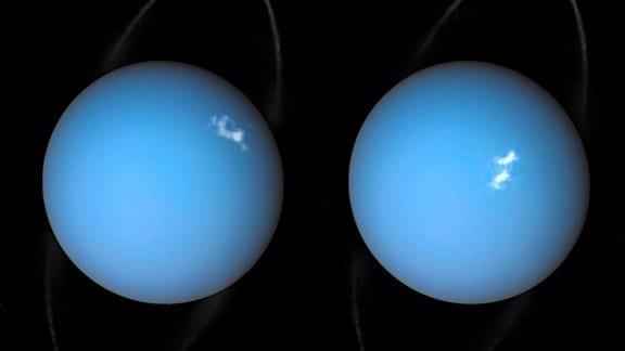 Zwei Bilder des Planeten Uranus