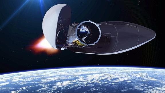 Die Verkleidung einer Vega-Rakete öffnet sich zur Abtrennung des Aeolus-Satelliten