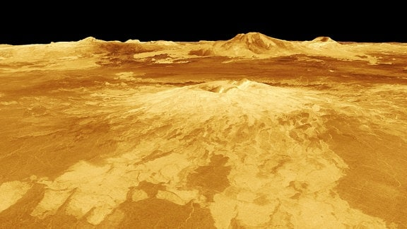 Eine 3D-Aufnahme der Venus. Zu sehen ist die Regien des Maat Mons.