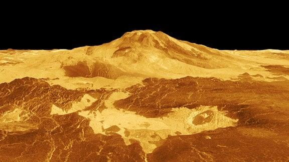 Ein 3D-Modell der Venus. Zu sehen ist das Gebiet des Sapas Mons.