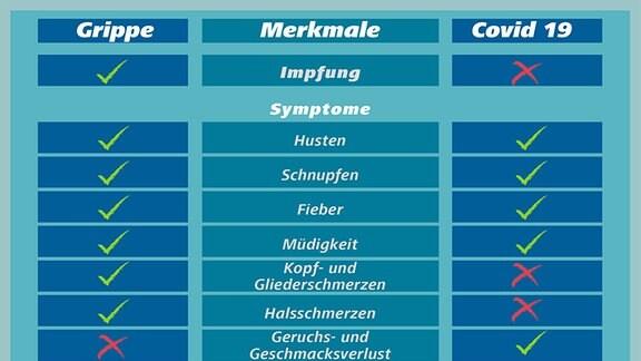 Vergleich Grippe und Covid
