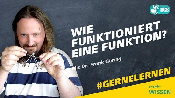 Dr. Frank Göring spielt mit Metallnägeln. Schrift: Wie funktioniert eine Funktion? Mit Dr. Frank Göring Logos: MDR WISSEN/DGS