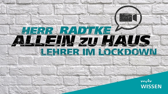 Stilisiertes Mauerwerk mit einem Videochat-Icon. Schrift: Herr Radtke allein zu Haus - Lehrer im Lockdown. Logo: MDR WISSEN