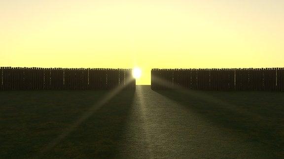 Sonne im Sonnenobservatorium Goseck, künstlerische Darstellung