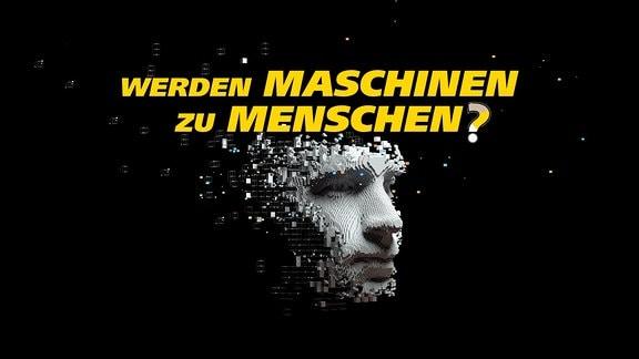 Viele kleine virtuelle Bausteine setzen sich zu einer künstlichen Kopfform zusammen. Schrift: Werden Maschinen zu Menschen?
