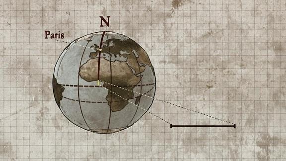 """Vorschaubild für die Dokumentation """"Das Maß der Dige"""", zu sehen ist eine GRafik, die erklärt, wie sich die Einheit Meter aus einem Bruchteil der Längengrade zwischen Äquatpor und Pol ableitet."""