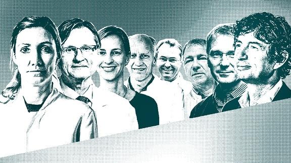 Colage, die Porträtfotos von acht bekannten deutschen Virologen zeigt. Von links nach rechts: Sandra Ciesek, Thomas Stamminger, Isabella Eckerle, Ulf Dittmer, Klaus Überla, Ralf Bartenschlager, John Ziebuhr und Christian Drosten.