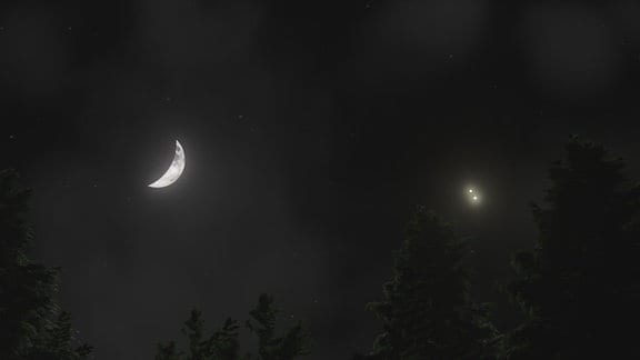 Nachthimmel mit Mondsichel und zwei Planeten