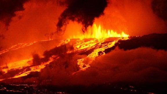 Der Ausbruch des Wolf-Vulkans auf dem Galapagos-Archipel im Jahr 2015.
