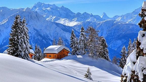 Winterlandschaft im Schweizer Kanton Wallis mit tief verschneiten Chalets, hinten Gipfel von Dom und Matterhorn