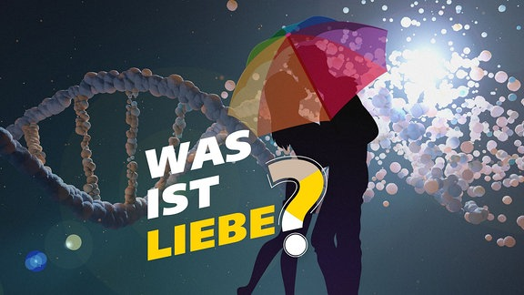 """Zwei Menschen unter einem Sonnenschirm, eine DNA und der Schriftzug """"Was ist Liebe""""?"""