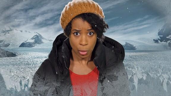 Eislandschaft und junge Frau mit Wintersachen