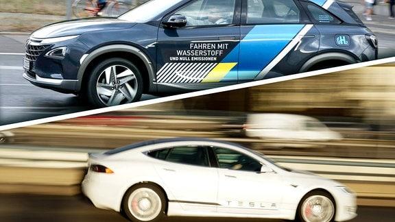 Geteiltes Bild: Oben ein Auto wie ein SUV im Stadtverkehr mit Wasserstoff-Antrieb-Werbung, unten ein weißer Tesla, eine flache Limousine beim Fahren mit viel Bewegungsunschärfe drum herum