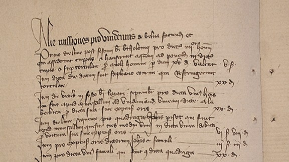Abrechnung des Kellermeisters der Kirche Notre Dame in Beaune (Frankreich). Das Dokument gibt das Datum der Weinlese in den Rebbergen des Domkapitels nach Parzellen an. Aufgeführt sind die Lohnkosten pro Parzelle und Tag.