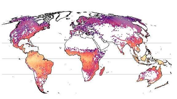 Eine Weltkarte mit farbigen Punkten