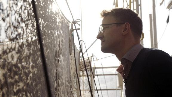 Mann betrachtet Insekten