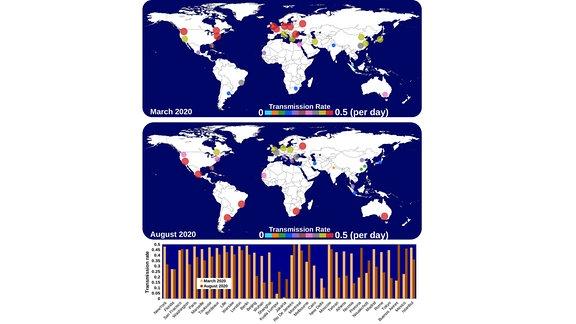 Die Grafik zeigt die Erdkarte mit Punkten, die die Ausbreutung des Coronavirus anzeigen