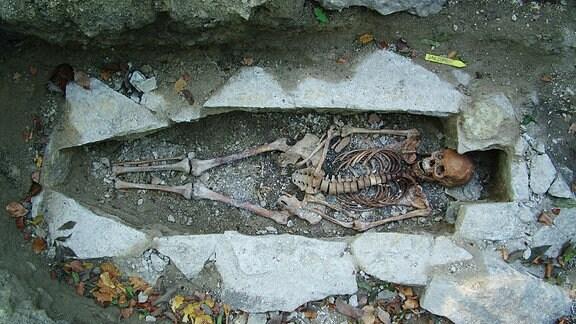 Das Skelett einer Frau liegt in einem offenen Erdgrab umrandet von Steinen.