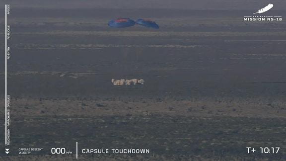 Das Raumschiff New Shepard nach der Landung
