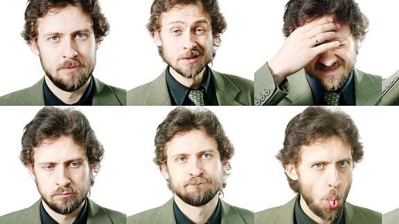 viele Gesichter eines Mannes