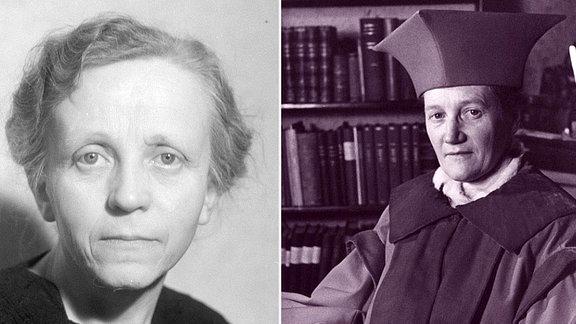 Porträtaufnahmen in schwarz-weiß zweier ältere Frauen.