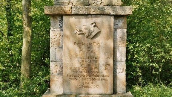 Gedenkstein mit Wolfskopf und Schrift, die nur teilweise gut lesbar ist; umgeben von grüner Natur