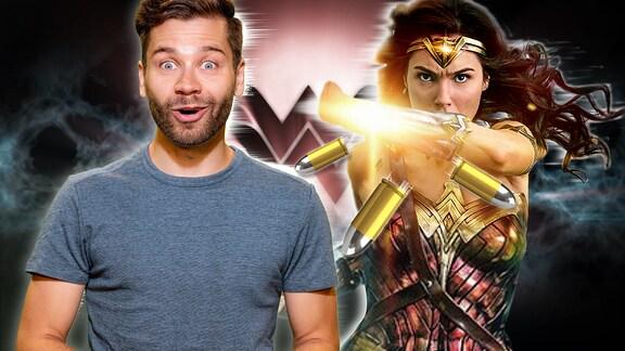 Bildkombo Junger Mann und Wonder Woman