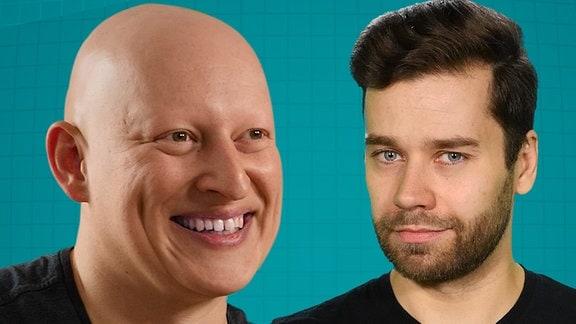 Mann mit Glatze vor Mann mit Scheitel