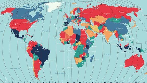 Weltkarte mit der Darstellung der verschiedenen Zeitzonen