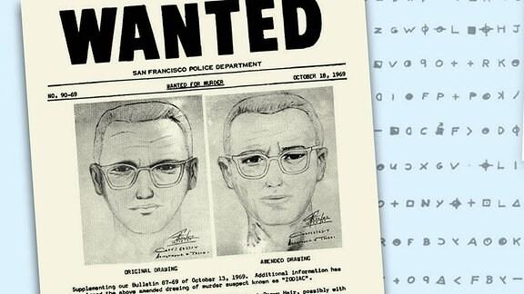 Zwei Phantombilder des Zodiac Killers auf einem Suchplakat