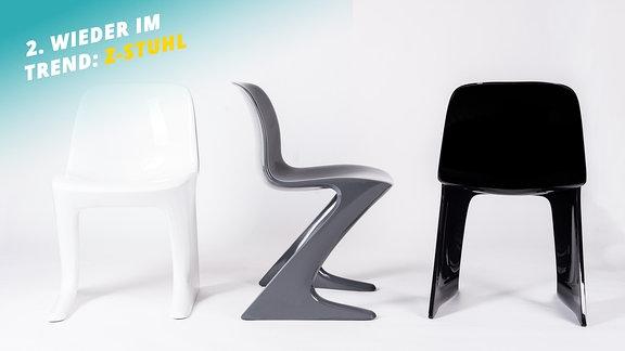 Z-Stuhl von Ernst Moeckl (auch bekannt als Hockender Mann oder Känguru) – Plastikstuhl, der mit Sitzfläche und Beinen von der Seite wie ein Z aussieht