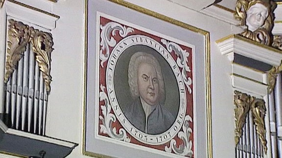 Gemälde von Johann Sebastian Bach in der Bachkirche.
