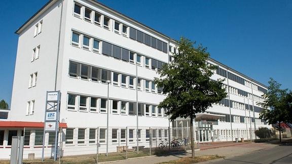 Eingang altes Hauptgebäude des Fernmeldewerks Arnstadt