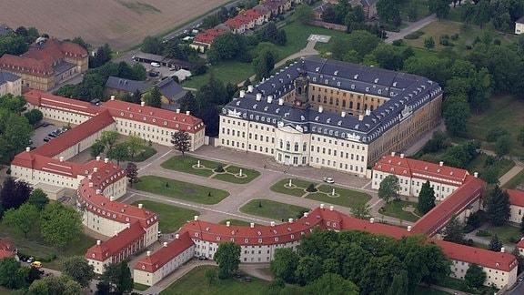 Luftaufnahme des Schloss Hubertusburg in Wermsdorf