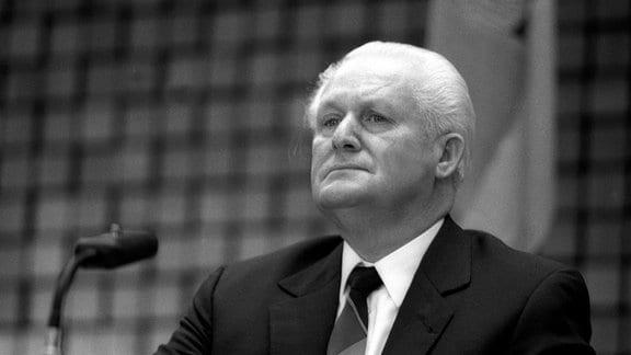 Günter Mittag, Sekretär für Wirtschaft im ZK, anlässlich des deutsch-deutschen Wirtschaftstreffens in Köln.