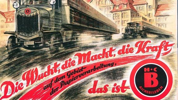 Werbeplakat der Firma Bestehorn mit Lkw und Fabrikgebäude