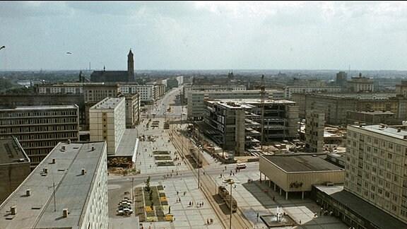 Magdeburg ca. 1969, Stadtansicht von oben.