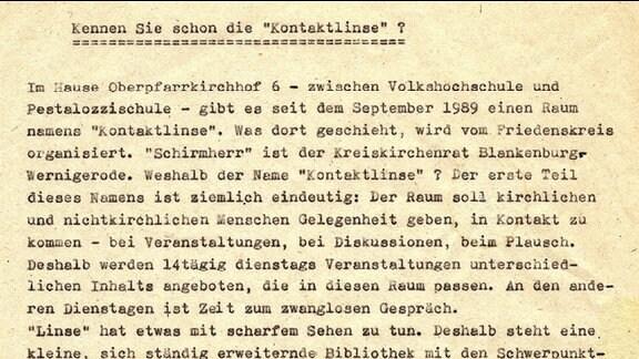 """Ein mit Schreibmaschine geschriebener Text von Anfang 1990 mit dem Titel """"Kennen Sie schon die Kontaktlinse?"""" für die Veröffentlichung in der Presse"""