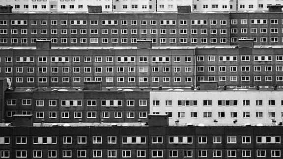 Blick auf das Plattenbauviertel Jena Lobeda