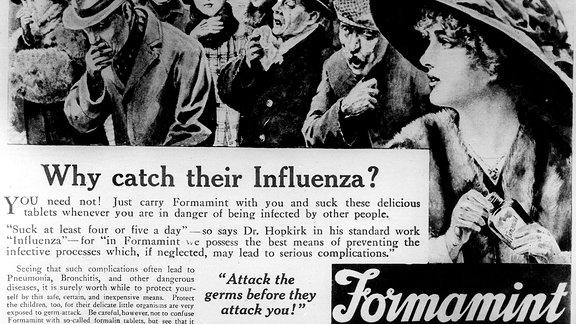 Alte Werbung für das Grippemittel Formamint von 1918