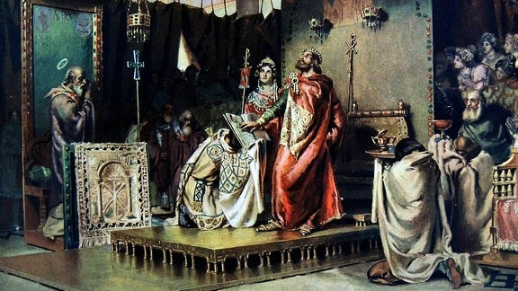 Westgoten-König Reccared konvertiert 586 in Toledo zum Katholozismus, Gemälde von Antonio Munoz Degrain, 1900