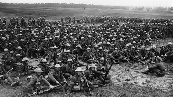 Archifaufnahme eines britischen Bataillons 1916