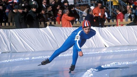 Eisschnellläuferin Andrea Mitscherlich (DDR) bei den Olympischen Winterspielen in Innsbruck 1976