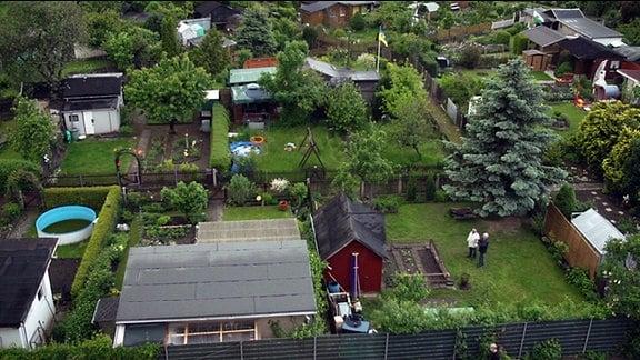 Kleingartenanlage aus der Vogelperspektive