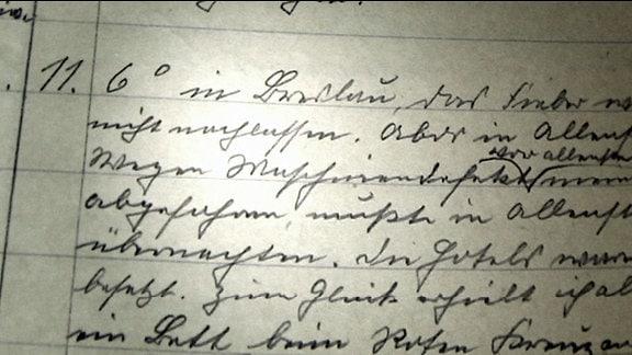 Nahaufnahme von Schimanns Tagebuch