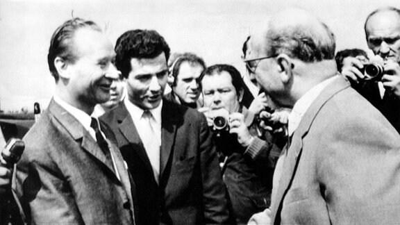 Walter Ulbricht and Alexandre Dubcek. 12 August 1968