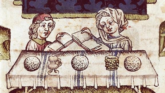 Jüdische Familie begeht das Pessach-Fest, Mittelalterliche Miniatur, Biblioteca Palatina